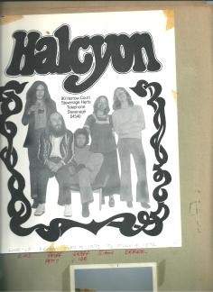 Flyer for Sian's first band Halcyon from 1972
