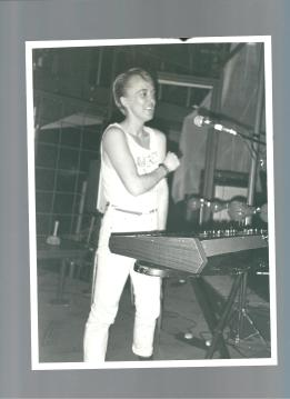 Sian on synthesizers at a gig in the 1980s