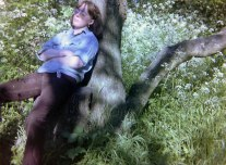 Sian snoozing on a tree in the 1990s